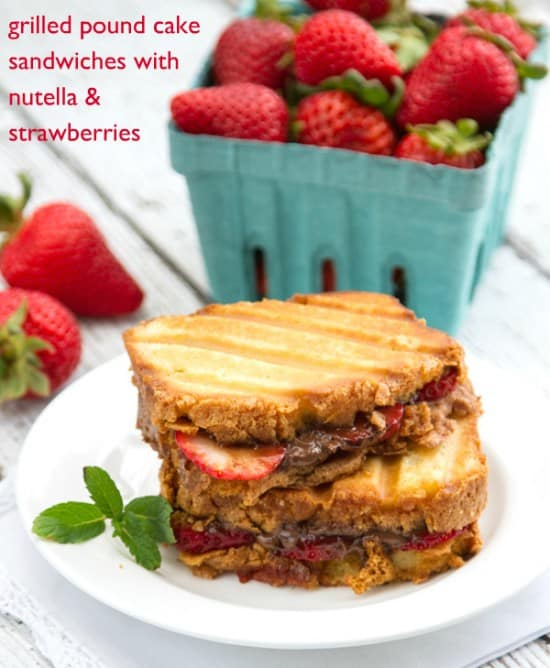 Grilled Pound Cake Sandwiches with Nutella & Strawberries is a fast and easy yet delicious dessert! Perfect for indoors or outside on the grill.