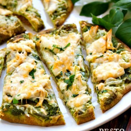 roasted garlic & pesto chicken flatbread recipe