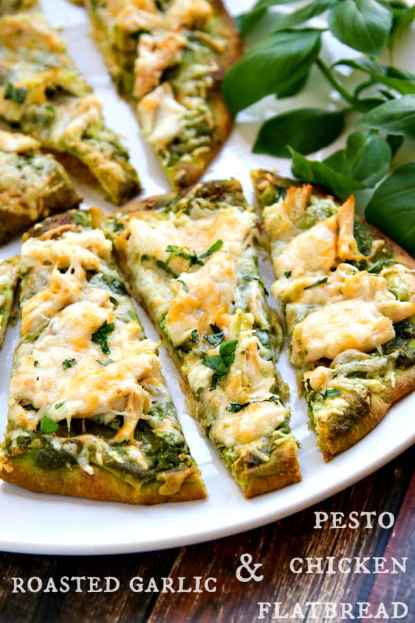 roasted garlic & pesto chicken flatbread recipe - takes just minutes to throw together!
