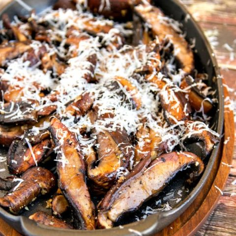 Garlic Portobello Mushrooms with Pecorino Romano