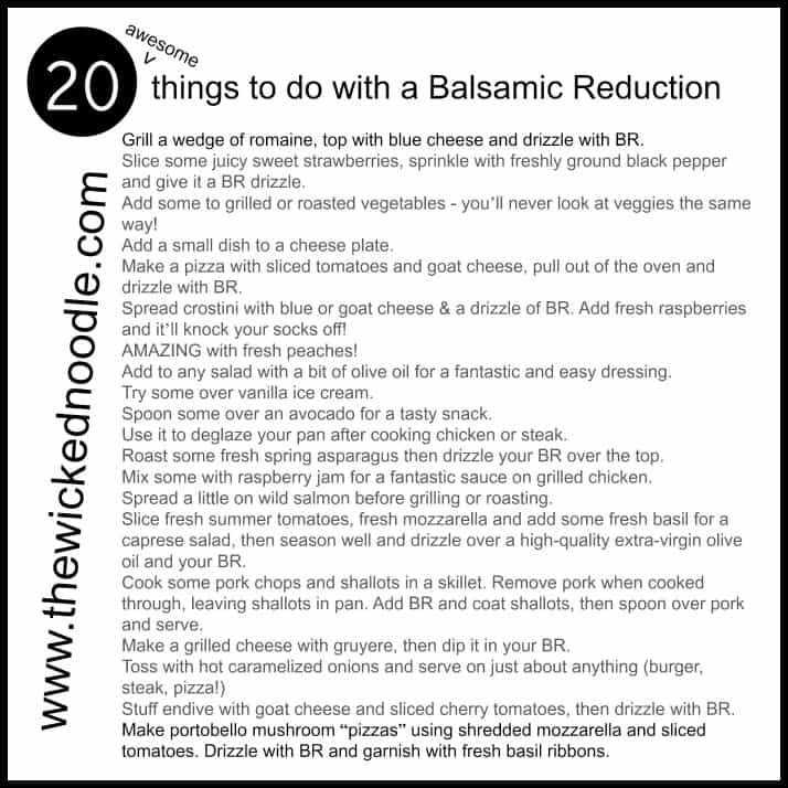 """How to make a balsamic reduction (or """"glaze"""") and 20 awesome things to do with it!"""