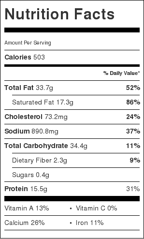 bacon blue cheese bread nutrition label