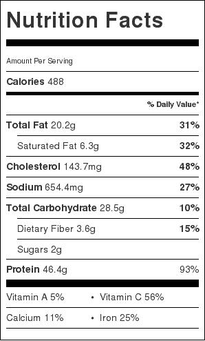 buffalo chicken potato skillet nutrtition label