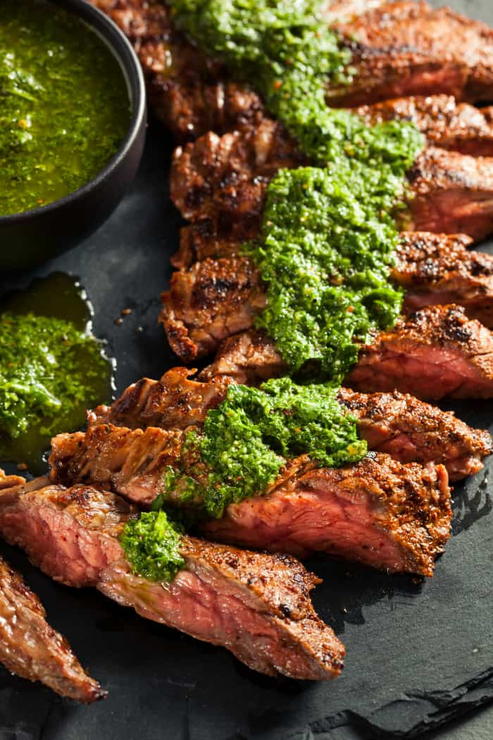 Homemade Cooked Skirt Steak with Chimichurri Sauce