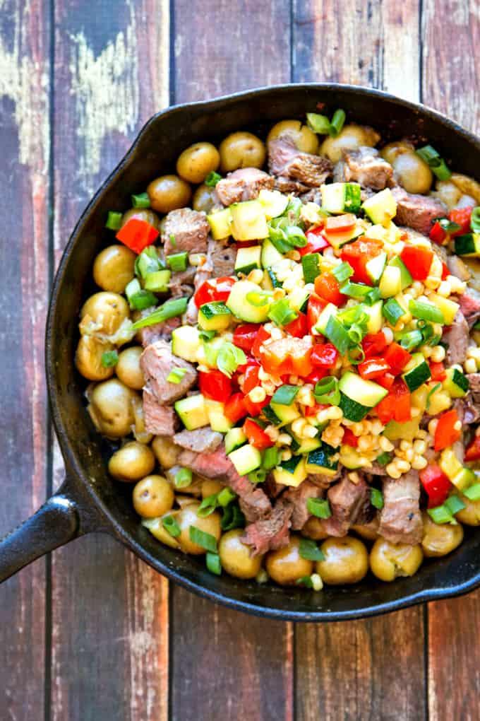 steak & potato chimichurri with fresh summer vegetables - so much flavor!!