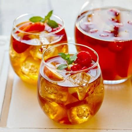 Sweet Tea Sangria {with fresh peaches & raspberries}