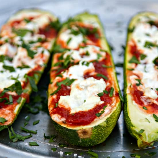stuffed zucchini with goat cheese and marinara - a delicious summer side dish that uses just 3 ingredients!