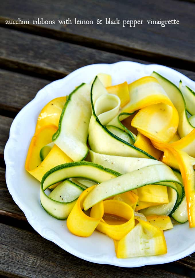 zucchini ribbons take just minutes to make and you can toss with just about any dressing for a quick salad or side dish - plus they're so pretty!