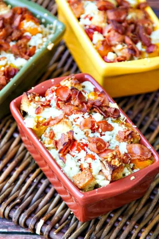 Crispy bread, soft summer tomatoes with parmesan, bacon & blue cheese combine to make this au gratin recipe the only au gratin you will ever want!