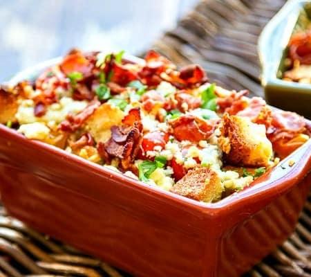 Bread and Tomato au Gratin Recipe with Bacon & Blue Cheese