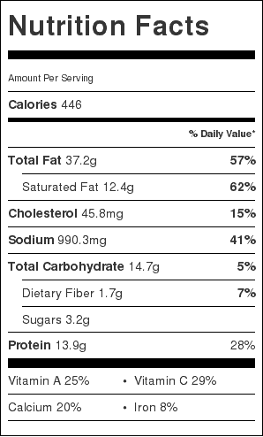 bread and tomato au gratin nutrition label