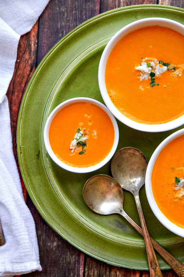 This Roasted Red Pepper Soup with Crab is an elegant soup with fantastic flavor! A Vitamix soup but could also be made on the stove with a hand blender.