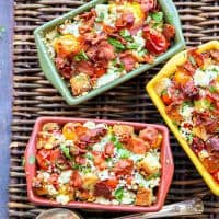 Bread and Tomato au Gratin with Bacon & Blue Cheese