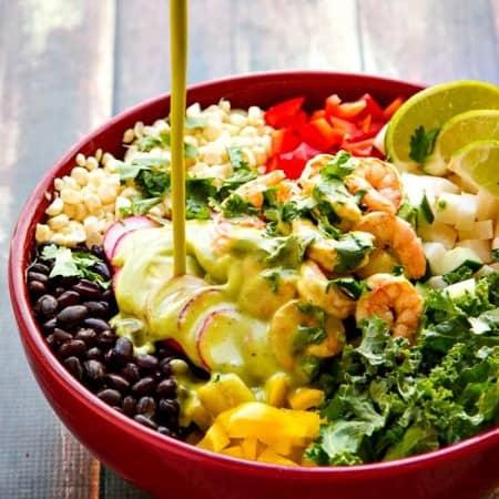Chopped Salad Recipe with Cumin Shrimp and Cilantro Lime Dressing
