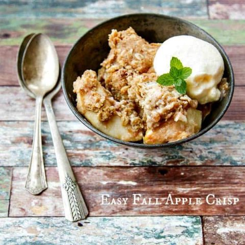 This Apple Crisp recipe has thick slices of juicy, tender apples with a thick topping layer made with oats, butter and lots of sweet goodness!