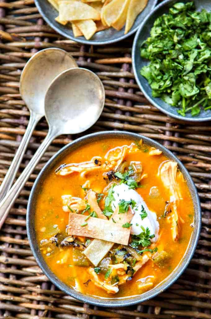 Chicken Tortilla Soup with Hatch Chiles - so good for you and filled with so much flavor!