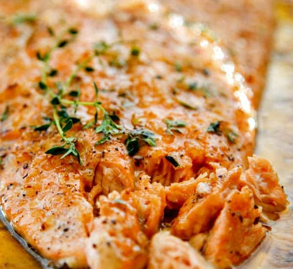 Broiled Salmon with Honey and Garlic - just 5 ingredients and SO flavorful!