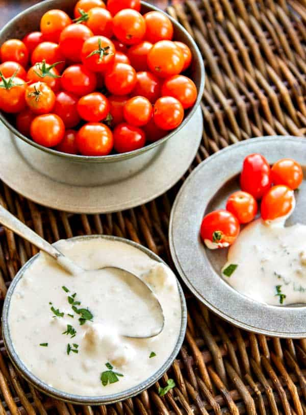 A creamy Buttermilk Blue Cheese Dressing - plus a list of 20 ways to use it that doesn't include a salad!