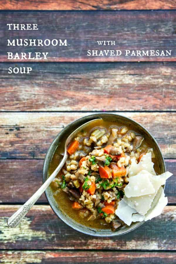 This easy Mushroom Barley Soup with Shaved Parmesan is not only healthy but tastes AMAZING! So hearty and filling, too!