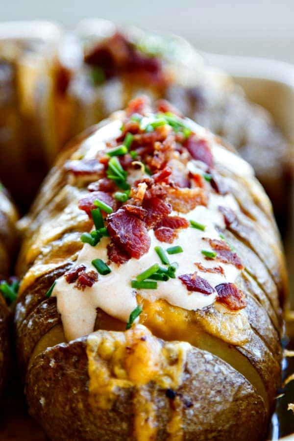 Hasselback Potatoes With Chipotle Sour Cream Bacon