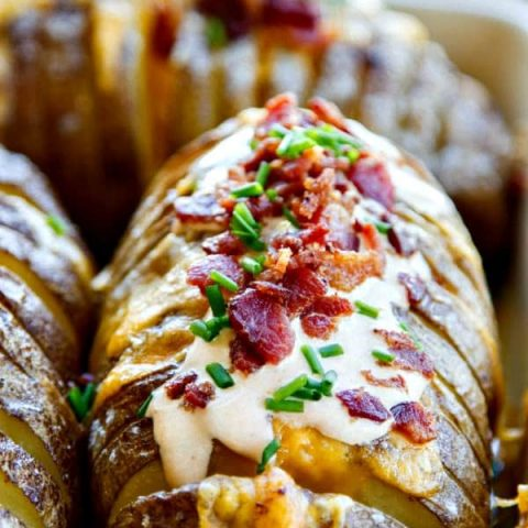 Hasselback Potatoes with Chipotle Sour Cream, Bacon & Chives