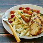Goat Cheese Pasta with Balsamic Chicken & Roasted Grapes