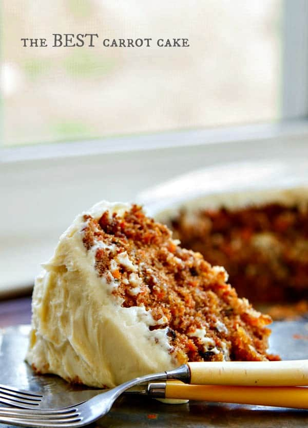 The BEST carrot cake recipe I have ever found! A buttermilk glaze seeps into the warm cake layers making it extra moist. Then a delicious cream cheese frosting is added to bring all the flavors together. It's even BETTER the next day!