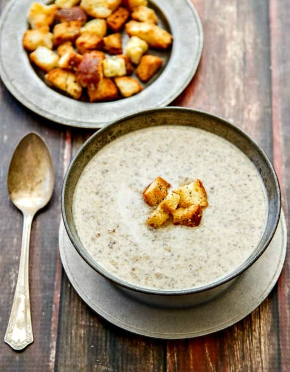 This Wild Mushroom Brie Soup has incredible flavor yet is very easy to make. Perfect for a special dinner or holiday meal!