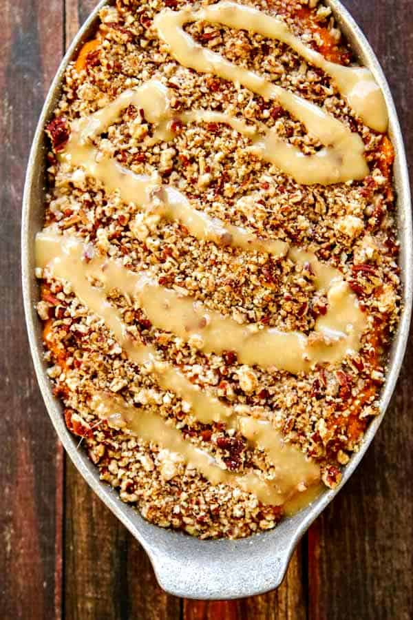 Sweet Potato Casserole with Marshmallow Drizzle and a Buttered Pecan Topping
