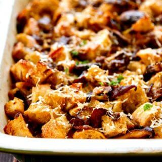 Three Mushroom and Parmesan Thanksgiving Stuffing Recipe
