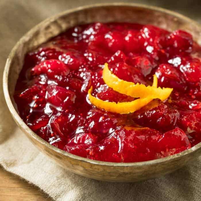 Sweet Homemade Cranberry Sauce with Orange for Thanksgiving Dinner