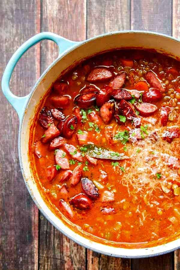 A delicious Lentil Soup Recipe with Parmesan and Smoked Sausage