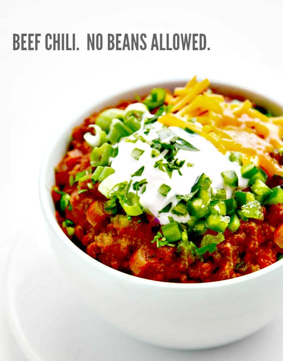 Super Meaty Beanless Chili - lots of meat, and even more flavor!