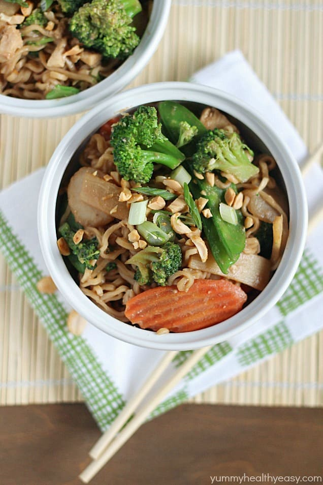 Chicken Thai Noodle Bowls (made with ramen noodles!) Click for 20 more easy Ramen Noodle Recipes!