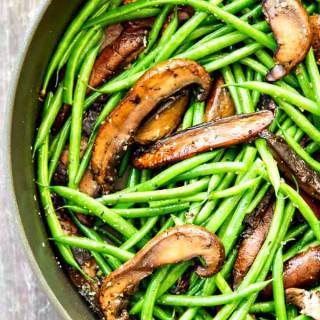 Garlic Green Beans and Portobellos with Parmesan