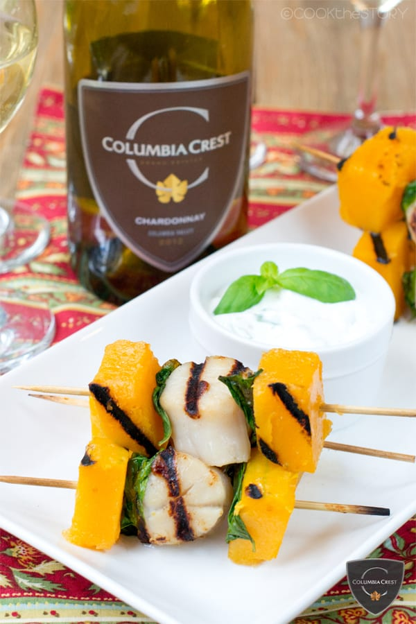 Grilled Scallop Skewers with Butternut Squash and Basil plus more awesome Scallop Recipes!