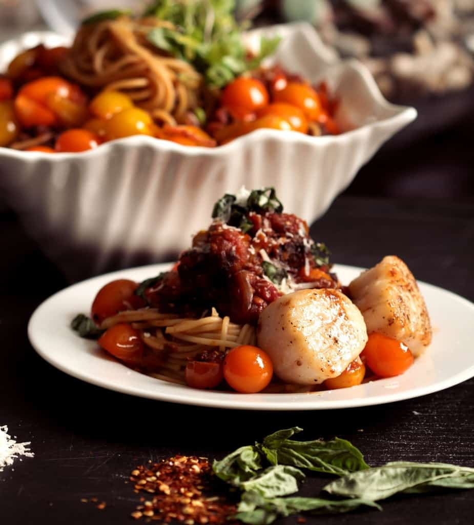 Three Tomato Pasta with Scallops  - Click for more awesome Scallop Recipes!