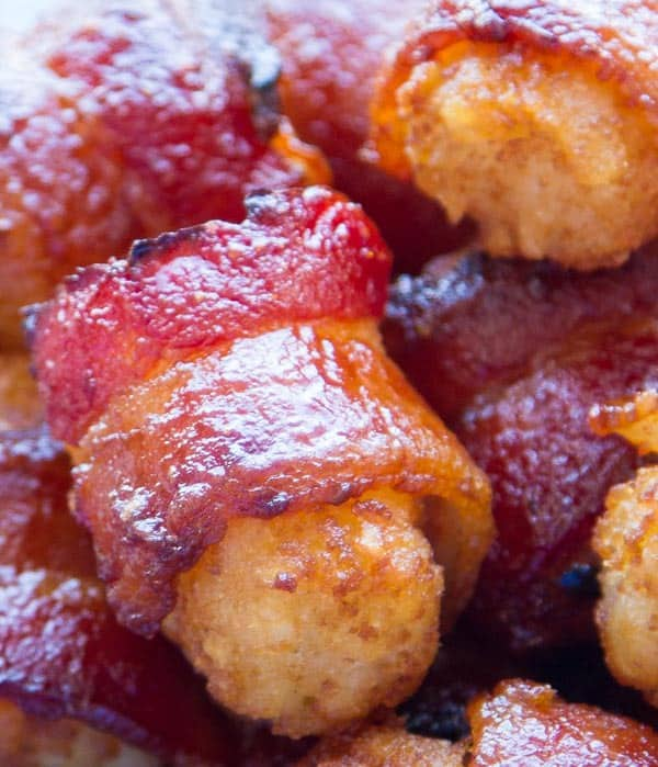 Spicy-Sweet Bacon Wrapped Tater Tots - just four ingredients and SO ADDICTIVE!!