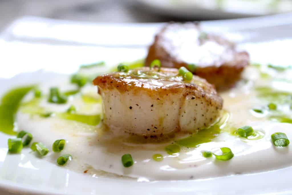Seared Scallops with White Soy Cream and Chive Oil - Click for more awesome Scallop Recipes!