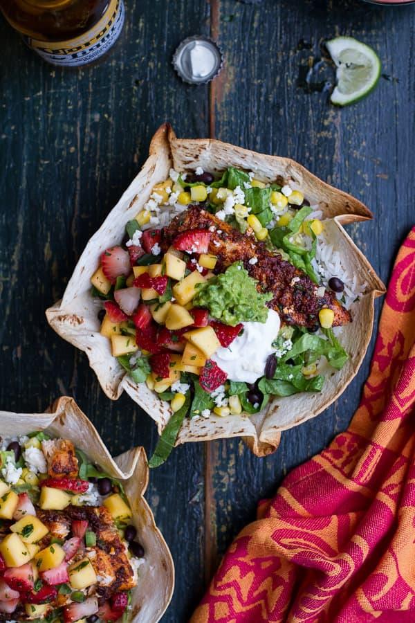 Chipotle Mahi Mahi Burrito Bowls with Coconut Cilantro Lime Rice + Spicy Strawberry-Mango Salsa {plus more awesome Mahi Mahi recipes)!