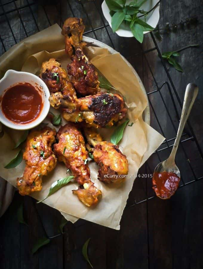 Spicy Sriracha Ginger Basil Drumsticks - plus more easy chicken drumstick recipes!