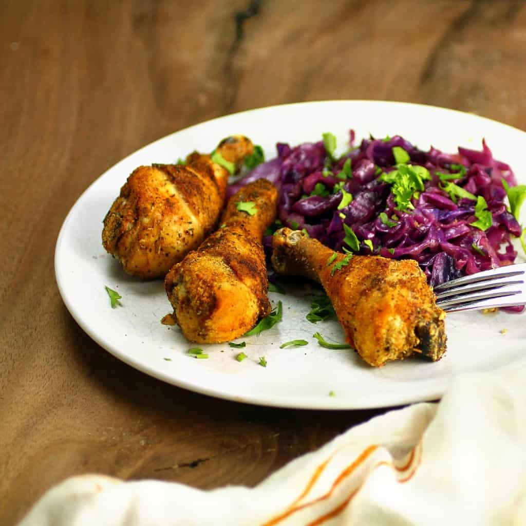 Paleo Baked Chicken Drumsticks and Braised Red Cabbage - plus more easy Chicken Drumstick Recipes!