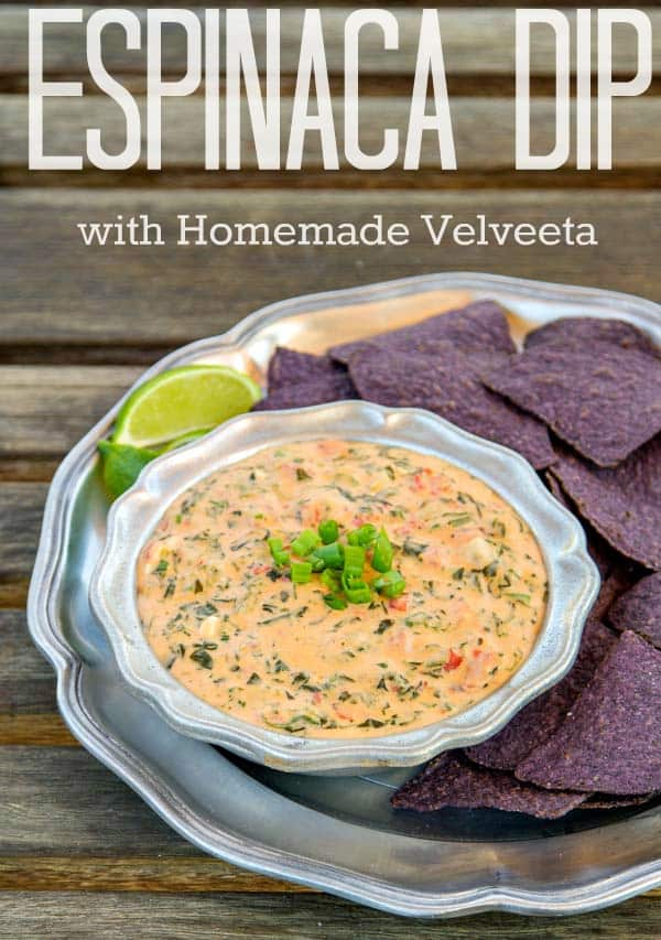 This is a copycat recipe of Jose Peppers Espinaca Dip recipe! It's cheesy with so much flavor (and uses homemade Velveeta if you'd prefer that to buying it)!