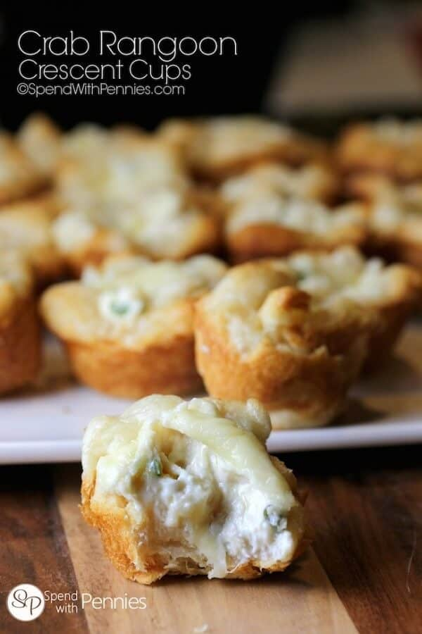 Crab Rangoon Crescent Cups - plus a collection of both sweet and savory recipes using Crescent Roll dough!
