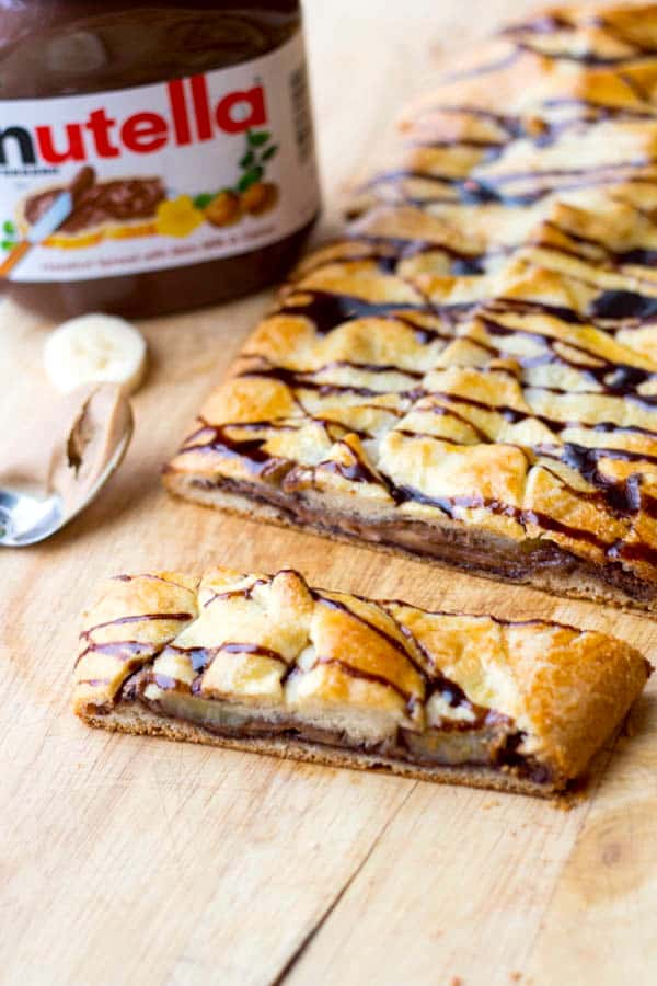 Nutella, Peanut Butter and Banana Breakfast Braid - plus a collection of both sweet and savory recipes using Crescent Roll dough!