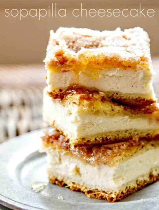 a stack of sopapilla cheesecake bars