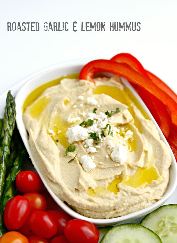 SO TASTY!! Lemon and Roasted Garlic Hummus Recipe