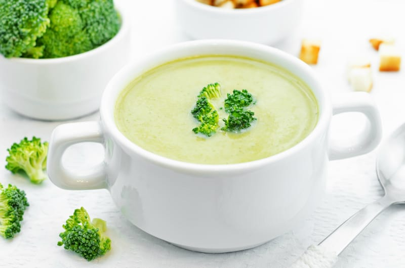 broccoli soup puree on a white background