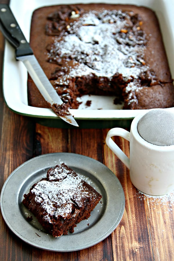 Mexican Brownies with Dark Chocolate Pretzels & Sea Salt