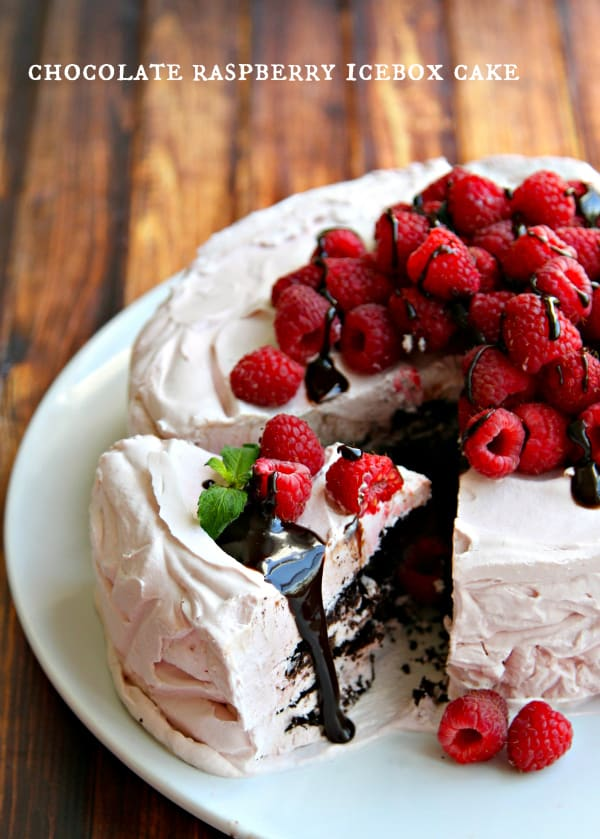 Chocolate Raspberry Icebox Cake - just six ingredients and you'll have a show-stopping dessert that everyone will rave over!